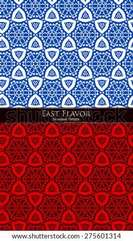 Vector Oriental Seamless Pattern Background Set - stock vector