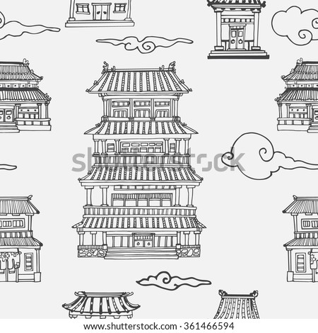 Vector oriental seamless pattern with asian architecture - stock vector