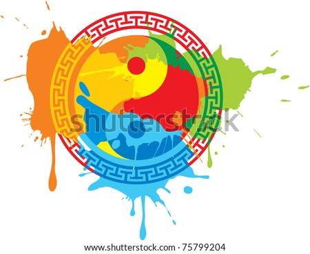 Vector Oriental Symbol (splat splash paint) - stock vector