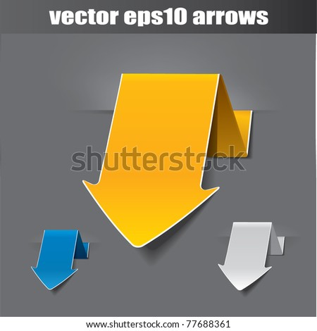 Vector origami arrow, use as tags or stickers - stock vector