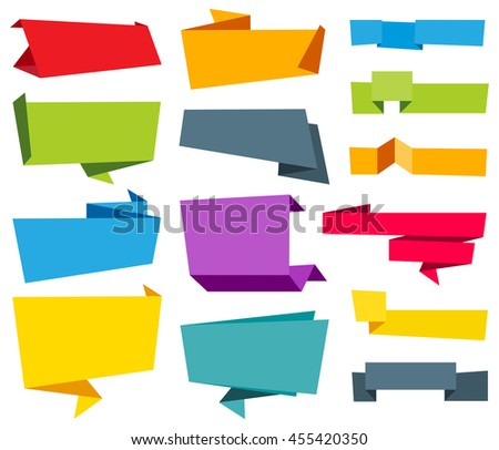 Vector Origami Banner Label Ribbon