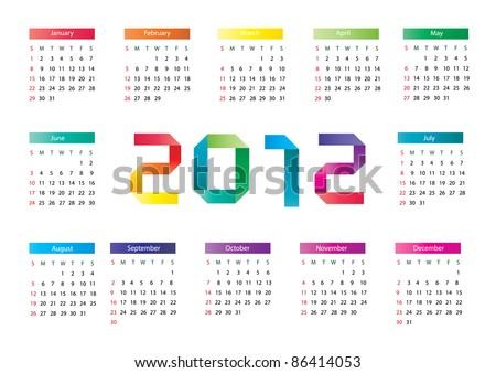 Vector origami calendar 2012 - stock vector