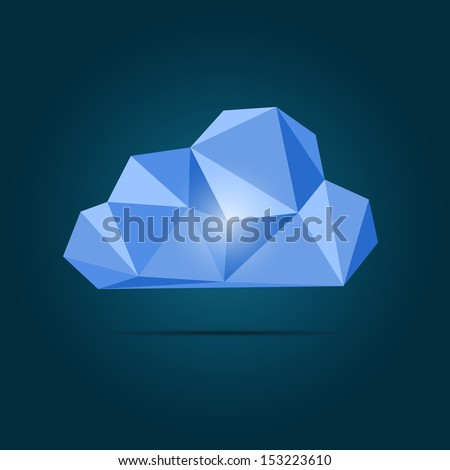 Vector origami cloud icon - stock vector