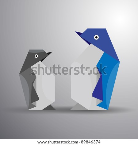 Vector origami couple of penguin - stock vector