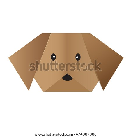 vector origami  dog face