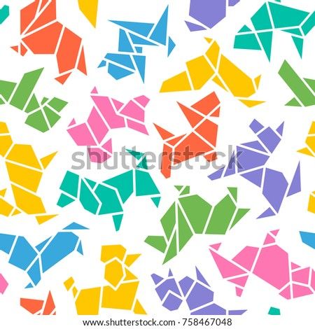 Vector Origami Dogs Seamless Background. Abstract Low Poly Pet Dog Breed Sign Silhouette Pattern Isolated on White. Abstract Animal Geometric Wallpaper Design. 2018 Chinese New Year Symbol