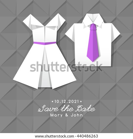 Vector Origami Dress Shirt Wedding Invitation Stock Photo Photo