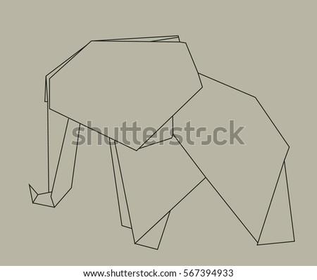 Vector Origami Elephant Contours