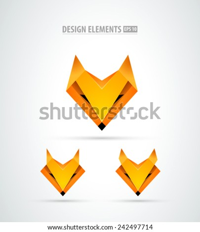 Vector origami fox logo icon - stock vector