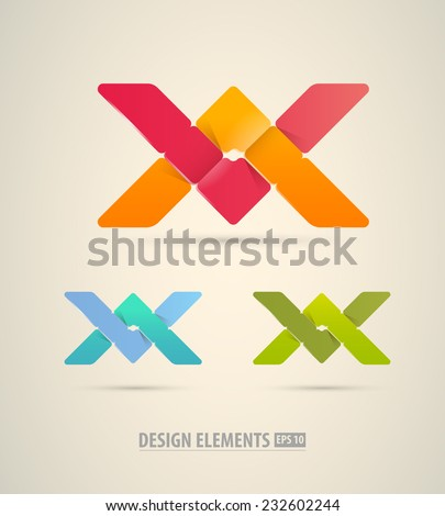Vector origami icons. Design logotype elements. Abstract logo icons. Letter x - stock vector