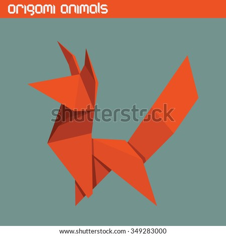 Vector origami isolated animal. Cute triangle Fox