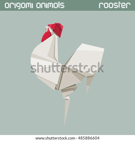 Vector origami isolated animal. White triangle Rooster.