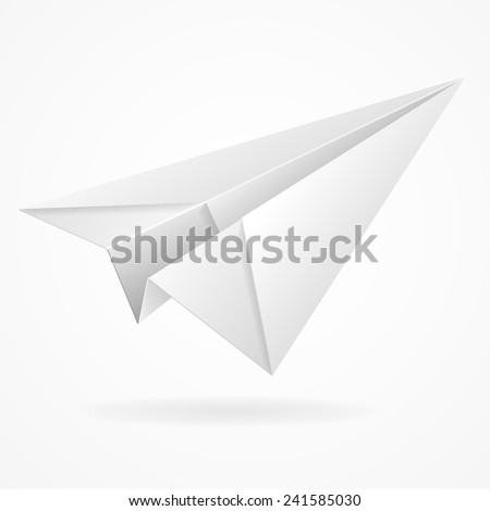 Vector origami paper airplane on white background isolated - stock vector