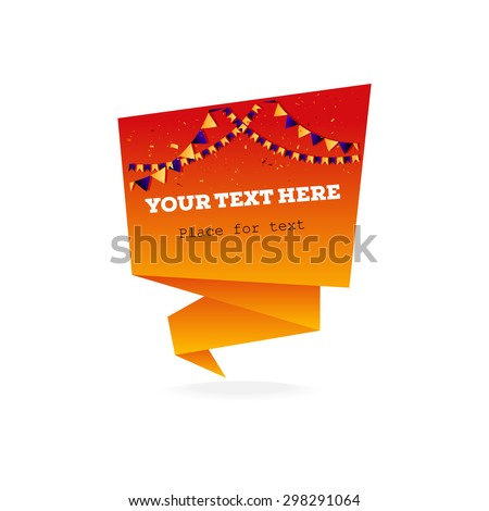 Vector origami paper banners for design and place for text - stock vector