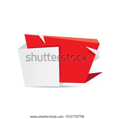 vector origami paper red banner. vector red abstract brochure design template. vector red origami style background for web design and creative cover design. - stock vector