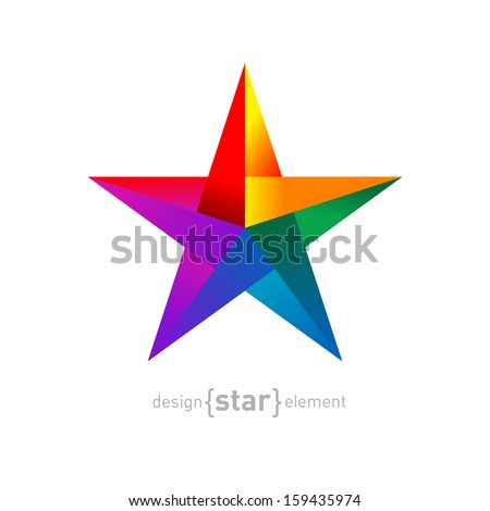 Vector Origami rainbow Star from paper on white background. Company logo template. - stock vector