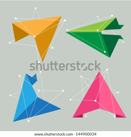 vector origami triangle arrow, creative idea concept - stock vector