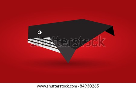 Vector origami whale - stock vector