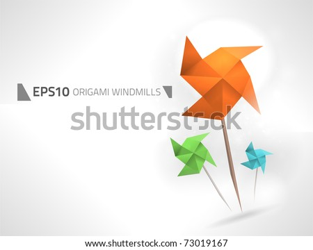 Vector origami windmills design - stock vector