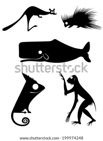 Vector original art animal silhouettes collection for design 9 - stock vector