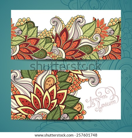 Vector Original Floral Banner. Decorative Floral Template for Card. Place for text - stock vector