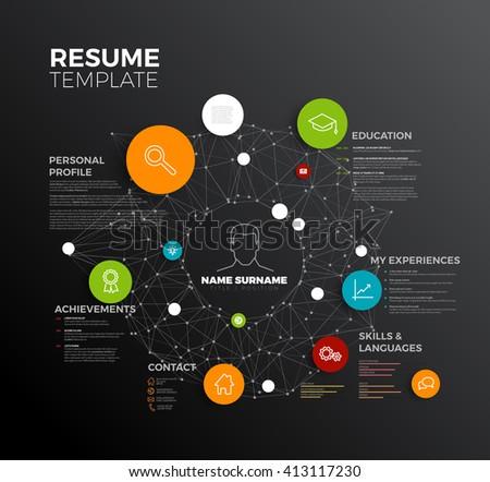 Vector original minimalist cv / resume template - creative profile.  - stock vector