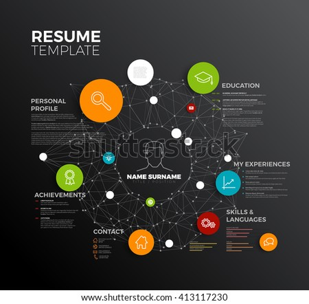 Vector original minimalist cv / resume template - creative profile. Minimalist resume template. Creative cv layout template. Profile template. Resume template. Modern resume template. Creative cv. - stock vector