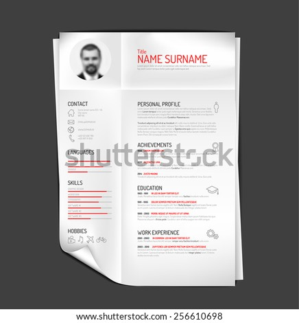 Vector original minimalist cv / resume template - creative version on folded paper - stock vector