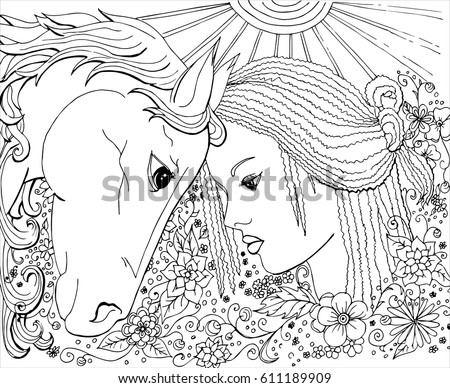 Vector Ornament Coloring Pages Adults Girl Stock Vector 611189909