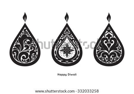 Vector ornament Diwali Diya. Oil Lamp - stock vector