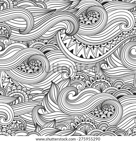 Vector ornament doodle seamless pattern. Seamless pattern can be used for wallpaper, textures - stock vector