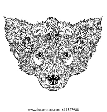 Vector Ornament Face Of Dog Line Art Style Coloring Book Isolated On White