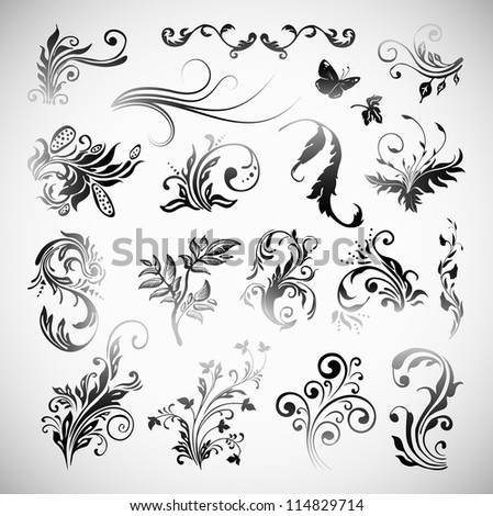 Vector Ornament Flowers Vintage Design Elements - stock vector