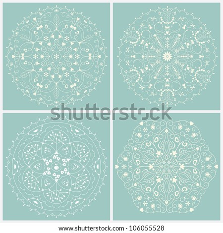 Vector ornament set background .  Set of lace - stock vector