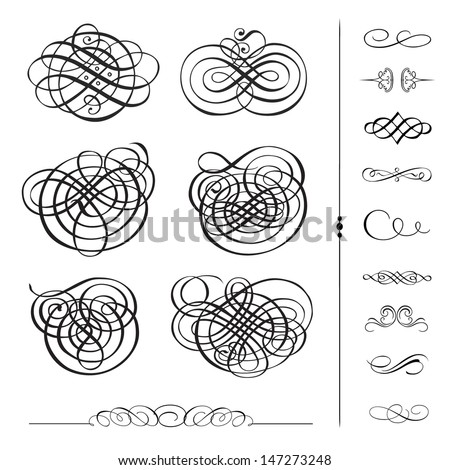 Vector Ornament Set. Easy to edit. Perfect for invitations or announcements.  - stock vector