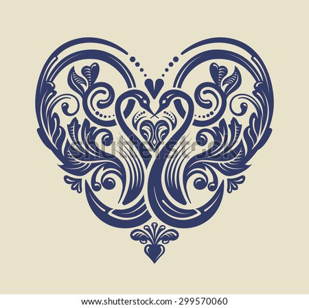 Vector ornament. Victorian style ornate design element. Decorative heart pattern for invitations, greeting cards and weddings