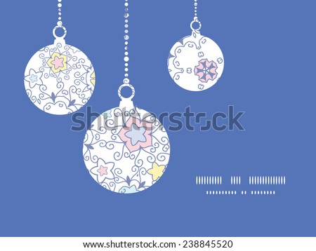 Vector ornamental abstract swirls Christmas ornaments silhouettes pattern frame card template - stock vector