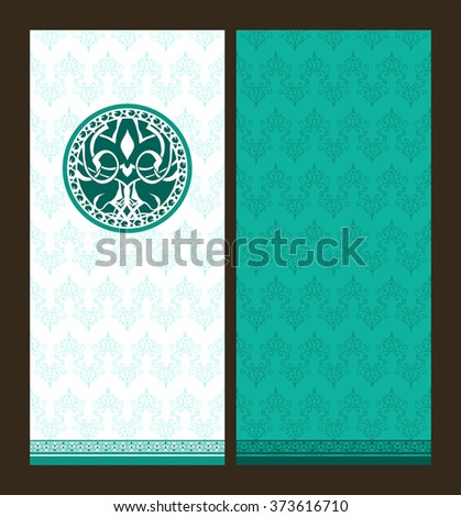 Vector ornamental invitation. India ethnic art theme.  Abstract handwriting text background and elegant damask elements.