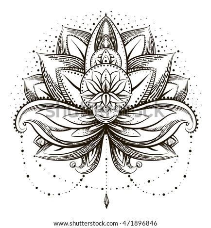 vector ornamental lotus ethnic zentangled henna stock vector 471896846 shutterstock. Black Bedroom Furniture Sets. Home Design Ideas