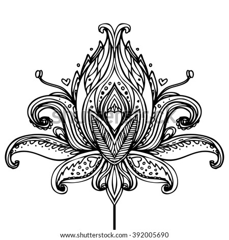 lotus flowertattoo stock vector 334044650 shutterstock. Black Bedroom Furniture Sets. Home Design Ideas