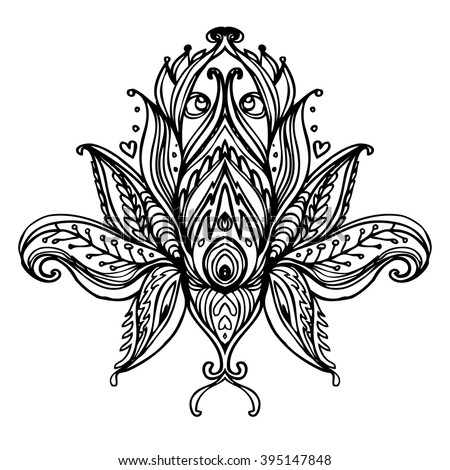 Vector ornamental Lotus flower, ethnic art, patterned Indian paisley. Hand drawn illustration. Invitation element. Tattoo, astrology, alchemy, boho  symbol.  Coloring book for kids and adults.  - stock vector