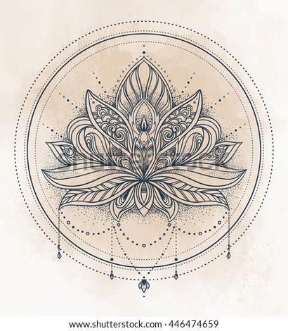 Vector Ornamental Lotus Flower Ethnic Art Stock