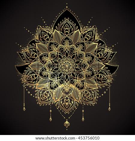 Vector ornamental Lotus flower, ethnic art, patterned Indian paisley. Hand drawn illustration isolated. Invitation. Golden stickers, flash temporary tattoo, mehndi and yoga design, boho, magic symbol. - stock vector