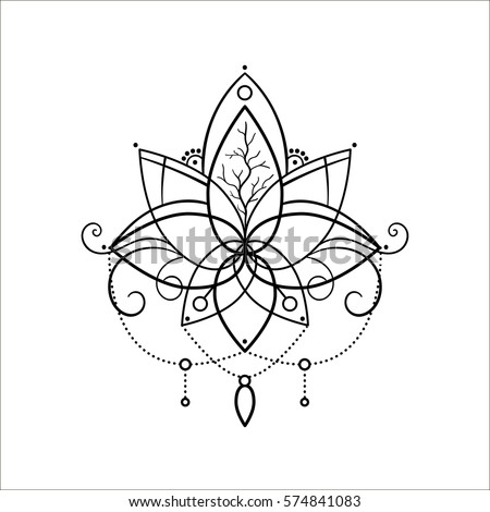 Vector ornamental outline lotus flower ethnic stock vector hd vector ornamental outline lotus flower ethnic art hand drawn illustration tattoo astrology mightylinksfo