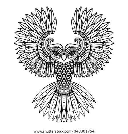 Vector ornamental Owl, ethnic zentangled mascot, amulet, mask of bird,  patterned animal for adult anti stress coloring pages. Hand drawn totem illustration isolated on background. - stock vector