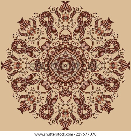 Vector Ornamental Round lace pattern, circle background  - stock vector