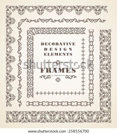Vector Ornaments Frames. Decorative Design Elements. Vintage style. - stock vector