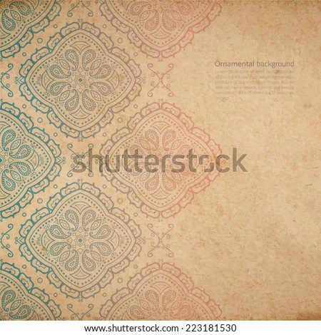 Vector ornate background with copy space, color faded out of time ornament on old cardboard - stock vector
