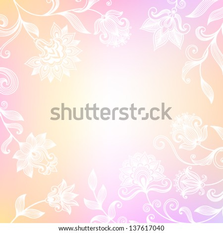 Vector ornate background with decorative flowers