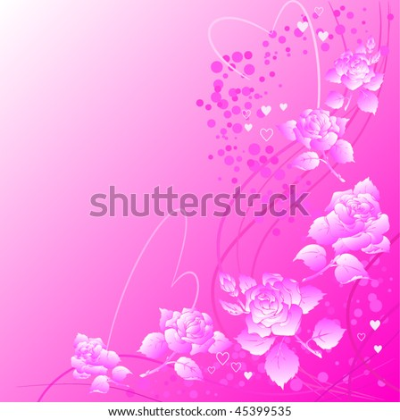 Vector ornate background with roses and heart shapes.